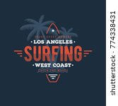california surfing typography.... | Shutterstock .eps vector #774338431