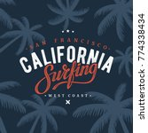 california surfing typography.... | Shutterstock .eps vector #774338434