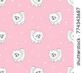 Stock vector seamless pattern with cute white pomeranian puppy on pink vector dogs background 774343687