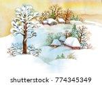 watercolor winter landscape...   Shutterstock . vector #774345349