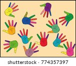 painted in different colors ... | Shutterstock .eps vector #774357397