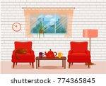 colorful vector cozy interior... | Shutterstock .eps vector #774365845