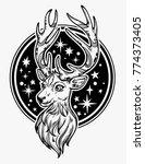 deer head and night sky... | Shutterstock .eps vector #774373405
