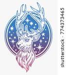 deer head and night sky... | Shutterstock .eps vector #774373465