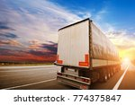 big semi truck with a white... | Shutterstock . vector #774375847