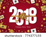 new year 2018 greeting card... | Shutterstock .eps vector #774377155