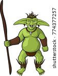 vector cartoon goblin shaman on ... | Shutterstock .eps vector #774377257