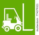 stacker loader icon white...   Shutterstock .eps vector #774379321