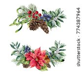 watercolor christmas floral...   Shutterstock . vector #774387964