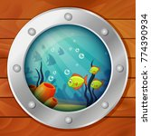 porthole of the underwater boat.... | Shutterstock .eps vector #774390934
