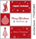 set of decorative winter cards  ... | Shutterstock .eps vector #774391885