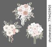wedding bouquets in pink tones. ... | Shutterstock .eps vector #774425905