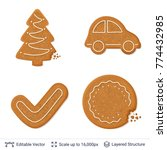 gingerbread cookies isolated on ... | Shutterstock .eps vector #774432985