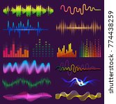 music waves of sound on radio... | Shutterstock .eps vector #774438259