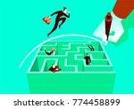 hand draws a bridge over a maze.... | Shutterstock .eps vector #774458899