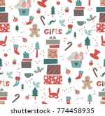 christmas pattern with... | Shutterstock .eps vector #774458935