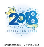 new years blue pattern yellow... | Shutterstock .eps vector #774462415