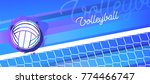 volleyball net and ball in... | Shutterstock .eps vector #774466747