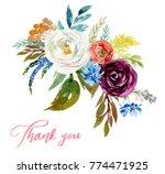 watercolor floral bouquet  ... | Shutterstock . vector #774471925