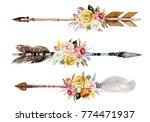 watercolor ethnic boho set of... | Shutterstock . vector #774471937
