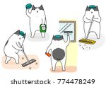 funny cartoon cat cleaning set | Shutterstock .eps vector #774478249