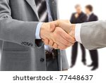 handshake isolated on white...   Shutterstock . vector #77448637
