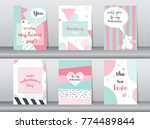 Stock vector set of valentine s day card on retro pattern design love cute vector vector illustrations 774489844