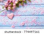 pink  sakura flowers and ...   Shutterstock . vector #774497161