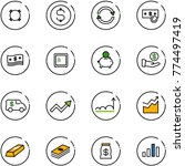 line vector icon set   currency ... | Shutterstock .eps vector #774497419