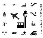 tower controller and plane icon.... | Shutterstock .eps vector #774506881