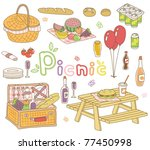 a vector set of picnic goods | Shutterstock .eps vector #77450998