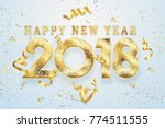 2018 happy new year. gold... | Shutterstock . vector #774511555