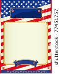 American flag poster with a frame A patriotic background for a poster - stock vector
