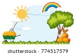 background template with wagon... | Shutterstock .eps vector #774517579