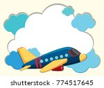 cloud border with blue airplane ... | Shutterstock .eps vector #774517645