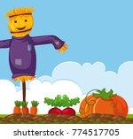 happy scarecrow on vegetable... | Shutterstock .eps vector #774517705