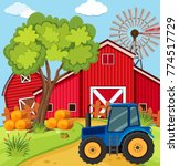 scene with blue tractor on the... | Shutterstock .eps vector #774517729