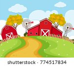 farm scene with red barns and...