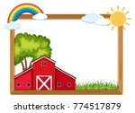 wooden frame with red barn and... | Shutterstock .eps vector #774517879