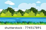 background scene with river and ... | Shutterstock .eps vector #774517891