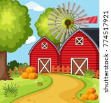 big barns in the farmyard... | Shutterstock .eps vector #774517921