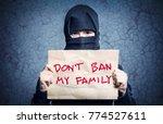 muslim girl in black hijab... | Shutterstock . vector #774527611