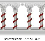 roses around the columns | Shutterstock .eps vector #774531004