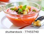 cold gazpacho with garlic... | Shutterstock . vector #77453740