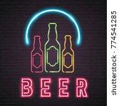 beer bottle glass neon light... | Shutterstock .eps vector #774541285