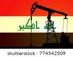 oil pump on background of flag... | Shutterstock .eps vector #774542509