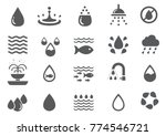water icon set   fish  recycle  ... | Shutterstock .eps vector #774546721