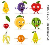 funny fruit face and cartoon... | Shutterstock .eps vector #774547069