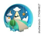 ufo kidnaps a person   cartoon... | Shutterstock .eps vector #774564817