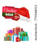 christmas sale 55   off poster... | Shutterstock .eps vector #774568411